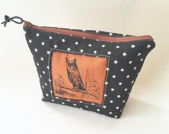 Sale! Night Owl Clutch, Canvas Handprinted Tool Bag