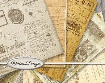 Vintage Ephemera Papers printable 8.5 x 11 inch paper pack crafting scrapbooking instant download digital collage sheet - VDPAEP1509