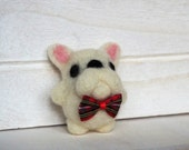 French Bulldog Needle Felted White Frenchie with bow tie Felt French Bulldogs