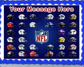 NFL Football Helmets  Cake Cupcake Edible Sheet Image Birthday Wedding Baby Shower Party Toppers Personalized Favors Many Sizes