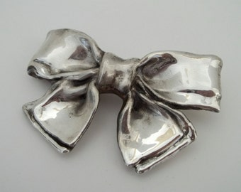Sterling Silver Electroform Bow Pendant Pin Brooch