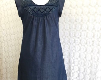 Collage Dress Indigo Ikat Diamonds