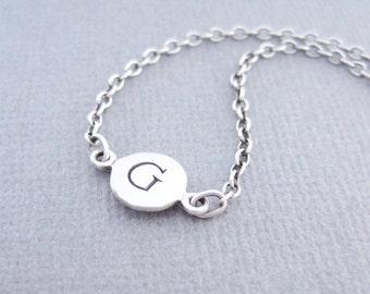 Letter G Bracelet, Initial G Bracelet, Silver G Bracelet, Silver Initial Link Bracelet, Silver Initial Charm