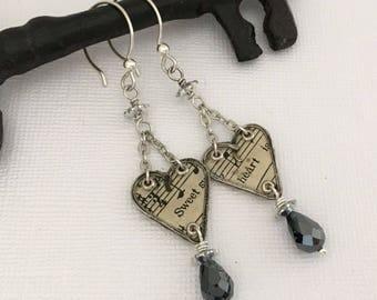 Girlfriend Earrings Gift Heart Earrings - Sweet Heart Dangle Earrings - Sterling Silver Handmade Earrings - Ice Resin Paper Gift Earrings
