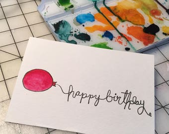 Happy Birthday Balloon Card / Postcard / 4 x 6 / Hand lettering