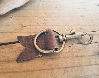 Waxed canvas and metal key chain, dark brown