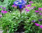 PATIO GARDENING, Hummingbird Feeder, stained glass, copper, Cobalt BLUE, Home Decor, Garden Stake
