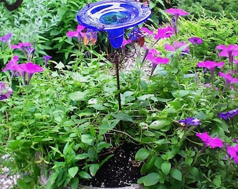 PATIO GARDENING, Hummingbird Feeder, stained glass, Iridescent, copper, Cobalt BLUE, Home Decor, Garden Stake
