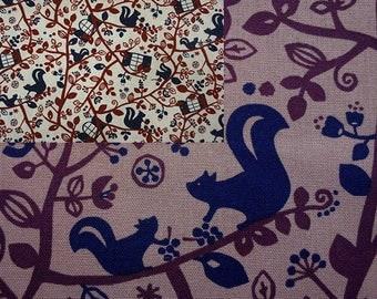 SALE - Squirrel in tree, fat quarter, pure cotton fabric