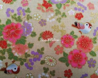 SALE - Bird flower and peach, beige, gold metallic, 1/2 yard, pure cotton fabric