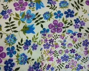 SALE - rosy periwinkle and tulip, fat quarter, pure cotton fabric