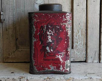 Antique Primitive  Oriental Tea Tin, Montgomery Ward & Co, Red Metal Canister