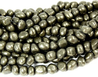 Pyrite Nuggets Smooth -15.5 inch strand