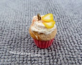 Miniature vanila with yellow heart cupcake polymer clay charm