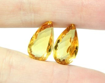 Citrine Faceted Stone Pair - 14.26 carats