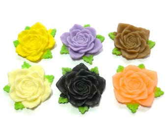 Mixed Color Large Rose Cabochon - Two-Toned Flower Resin - 32mm x 8mm - You Pick Color - Rose - DIY - Plastic Flower - Craft
