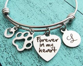 pet loss gift, sympathy gift, Forever in my heart, pet memorial jewelry, loss of pet memorial bracelet,  dog memorial remembrance, cat loss