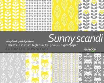 Digital paper Sunny Scandi pack of backgrounds with flowers, foxes, nordic patterns, leaves, in yellow and grey