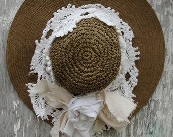 Shabby sun hat, shabby hat, shabby chic, sun hat, sun lace, shabby hats, sun shade, lace hat