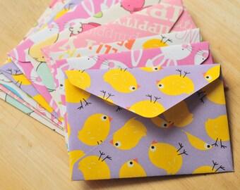 Assorted Easter Mini Cards // Set of 10 // Blank Cards // Gift Card Envelopes // Easter Basket Cards // Enclosure Cards // Scrapbooking