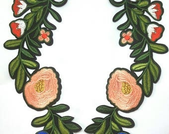 2pcs - Pair of Extra Large Pink Flower Embroidered Applique Patches. Iron On or Sew On Flower Badges Collar for T-shirts, Jackets 20.3cm