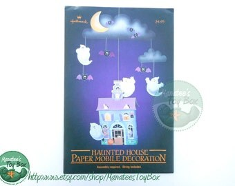Unopened Vintage Halloween Decoration Haunted House by Hallmark Paper Mobile NOS