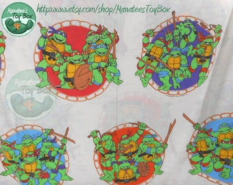 Ninja Turtles Twin Flat Sheet: TMNT Vintage 90s Bedding Fabric Made in the USA