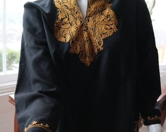Black kaftan style tunic top in black with gold embroidery S / M