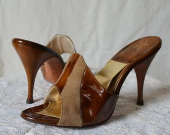 FERNCRAFT vintage 50's tan suede and patent spring-o-lator mules heels 7M