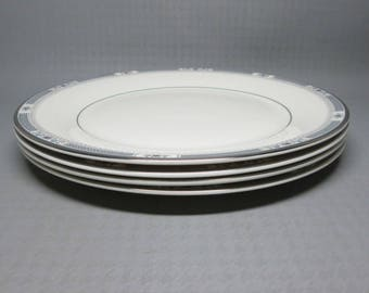 Royal Doulton MELISSA H 5087 , set of four dinner plates Romance Collection 1982 , platinum band
