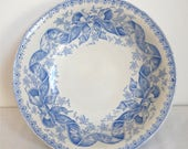 RESERVED  1880 Big Salad Bowl Sarreguemine - Blue Ironstone french Antique Bowl - French Antique Serving Bowl with flowers and Node