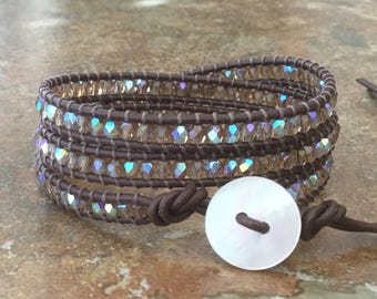 Brown Leather Wrap Bracelet Triple Wrap Everyday Wrap Free Shipping