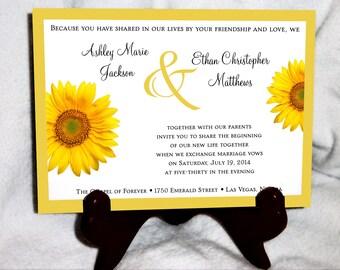 SALE! Sunflower Wedding Invitations Set.  Valued at over 600 dollars