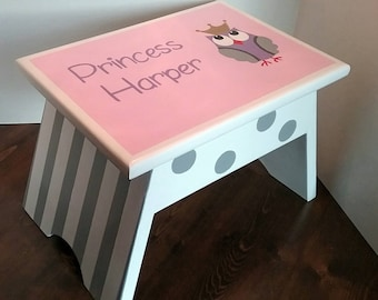 Pink and Grey Owl with Crown Step Stool - Nursery Stool - Owl Decor - Stool & Kids Wooden Step Stool Toddler Boy Step Stool Dump Truck islam-shia.org