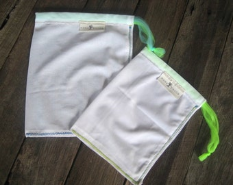 farmers market bags, produce bags, eco friendly 2 pack NEON GREEN drawstring // handmade from repurposed curtains // recycled bulk food bags