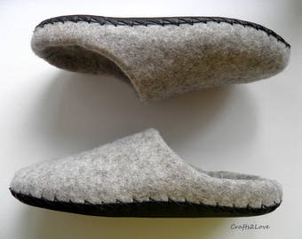 Gift for him, Felted slippers, men wool slippers with leather soles, Grey slip on warm bathroom slippers, Made to order