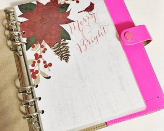 SALE A5 Size Merry & Bright Christmas Poinsettia Holly Holiday Laminated Dashboard for Filofax Large Kikki-k Planner