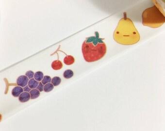 Adorable Kawaii Fruit Colorful Smiley Face Fruit Food Washi Tape 11 yards 10 meters 15mm