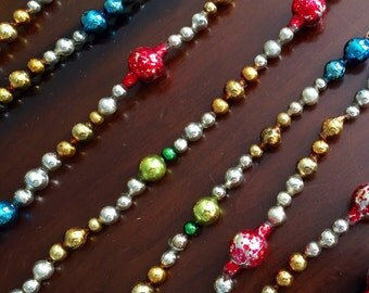 """Vintage Mercury Glass Garland - Victorian Style Silver, Gold, Green, Red and Blue Big Glass Beads 88"""" Long Rustic Shabby Chic Feather Tree"""