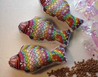 Candy Fish rainbow weighted fidget toy rattle bean bag mylar crackle original artwork
