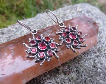 Sterling Silver and Red Pyrope Garnet Earrings