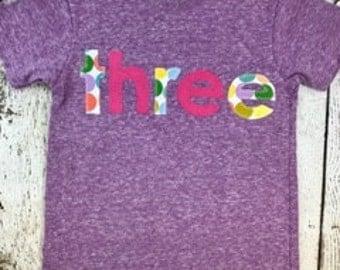 Ready to Ship third birthday shirt, size 4T shirt, girl's birthday shirt, birthday shirt, rainbow party, rainbow shirt, kid's clothing