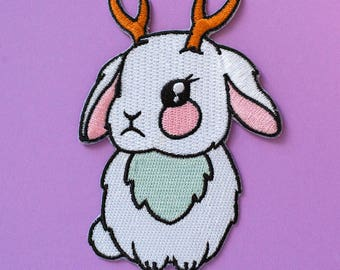 Jackalope Patch - Iron-On Patch Bunny Applique Rabbit Patch Badge Embroidered Bunny Kawaii DIY Jackalope Patches