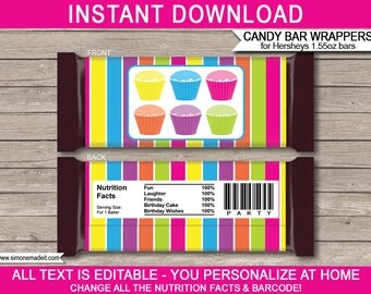 Cupcake Party Candy Bar Wrappers - Cupcake Party Favors - Chocolate Labels - INSTANT DOWNLOAD with EDITABLE text - you personalize at home