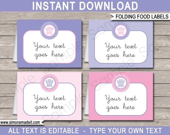 princess food labels buffet tags tent cards party decorations