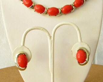 vintage 60s coro coral lucite thermoset necklace earrings set demi parure  free shipping