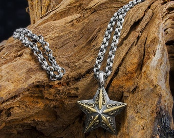 Handmade Solid 925 Sterling Silver Nautical Star with Fleur De Lis Design and Heavy Belcher Chain Necklace