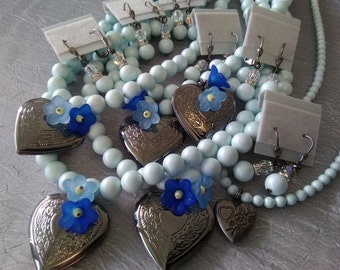 Swarovski Pastel Blue Bridesmaid (5) and Flower Girl (1) Necklace and Earrings Set
