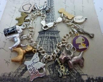 I LOVE DOGS poodle scotty dog  vintage assemblage charn bracelet