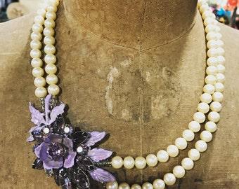 OOAK Vintage Enamel Rhinestone Brooch Necklace